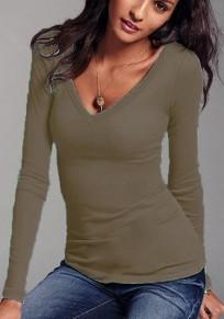 Camiseta lisa escote profundo manga larga algodón desechable caqui