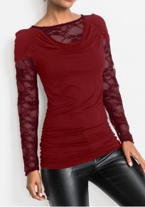 Red Lace Round Neck Long Sleeve Fashion T-Shirt