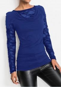 T-shirt dentelle col rond manches longues mode bleu
