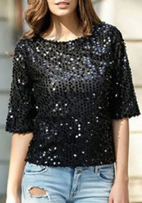 Black Sequin Round Neck Three Quarter Length Sleeve Fashion T-Shirt