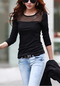Black Patchwork Grenadine Round Neck Long Sleeve Casual T-Shirt