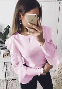 Pink Ruffle Lace Round Neck Fashion T-Shirt