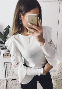 White Ruffle Lace Round Neck Fashion T-Shirt