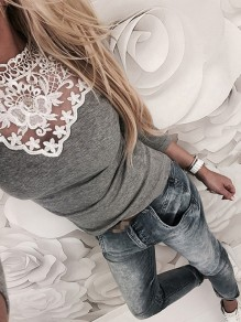 Grey Patchwork Lace Round Neck Long Sleeve T-Shirt
