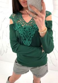 Green Patchwork Lace Cut Out Round Neck Long Sleeve T-Shirt