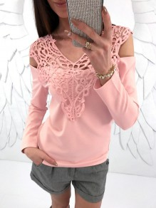 Pink Patchwork Lace Cut Out Round Neck Long Sleeve T-Shirt