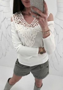 White Patchwork Lace Cut Out Round Neck Long Sleeve T-Shirt