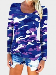 Navy Blue Camouflage Draped Round Neck Long Sleeve T-Shirt
