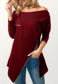 Burgundy Zipper Irregular Side Slit Off Shoulder Long Sleeve Casual T-Shirt