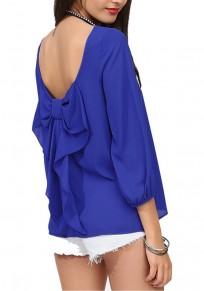 Maglietta farfallino senza schienale girocollo manica lunga moda blu