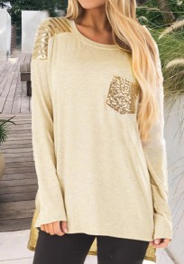Khaki Striped Pockets Sequin Irregular Side Slit High-Low Glitter Casual T-Shirt