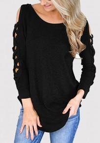 Schwarz Cut Out Schulterfrei Schlitz Langarm Pullover Tops T-Shirt Oberteile Damen Mode