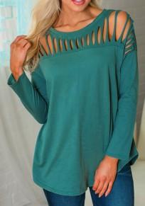 Green Cut Out Round Neck Fashion T-Shirt