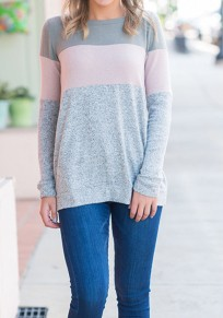 Grey Patchwork Draped Round Neck Long Sleeve Casual T-Shirt