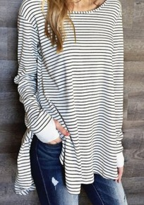 White-Black Striped Draped Side Slit Going out Casual T-Shirt