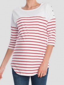 White-Red Striped Maternity and Lactant Women Casual Going Out T-Shirt