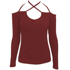 Red Tie Back V-neck Long Sleeve Fashion T-Shirt