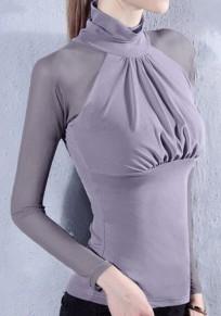 Camiseta adina colmena de cuello alto manga larga moda gris