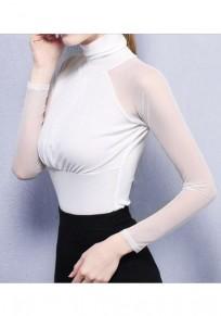 White Patchwork Grenadine Ruffle High Neck Long Sleeve Fashion T-Shirt