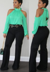 Green Halter Neck Off Shoulder Bow Long Sleeve Fashion T-Shirt