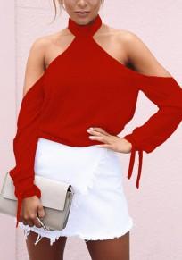 Red Drawstring Backless Band Collar Long Sleeve T-Shirt