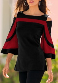 Red Striped Cut Out Round Neck Fashion T-Shirt