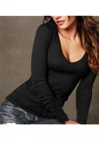 T-shirt bodyconv-col sans manches longue occasionnel noir