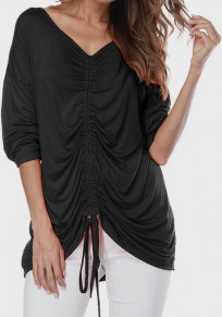 Black Drawstring Round Neck Long Sleeve Casual T-Shirt