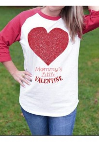 Red-White Patchwork Heart Pattern Bronzing 3/4 Sleeve Valentine's Day Casual T-Shirt