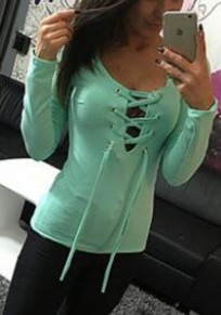 Camiseta cordón cuello en V con cordones manga larga verde