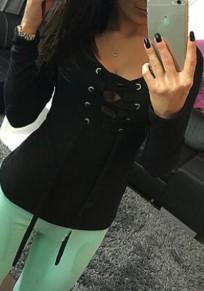 Schwarz Schnürung Lace-Up Tiefer V-Ausschnitt Langarm Mode T-Shirt Damen Tops Oberteile