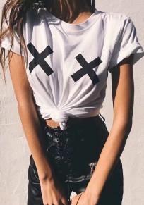"White Letter ""X"" Draped Round Neck Short Sleeve Fashion T-Shirt"