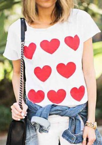 White Heart Pattern Round Neck Short Sleeve Valentine's Day Casual T-Shirt