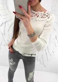 White Patchwork Lace Cut Out Round Neck Fashion T-Shirt