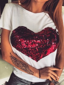 White Patchwork Sequin Heart Short Sleeve Valentine's Day Going out T-Shirt