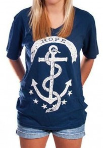 Tee-shirt imprimé étoile monogramme col rond sortir décontracté bleu