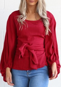 Red Sashes Round Neck Lantern Sleeve Sweet Going out T-Shirt