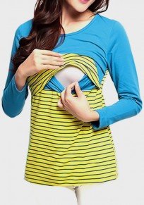 Blue-Yellow Striped Print Maternity and Lactant Women Casual T-Shirt