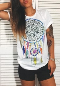 White Floral Print Round Neck Short Sleeve Casual T-Shirt