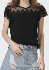 Schwarzes Häkel Spitze Rundhals Transparent Kurzarm Süß Beiläufige T-Shirt Oberteile Damen Günstig