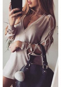 Khaki Irregular Cut Out Plunging Neckline Long Sleeve T-Shirt