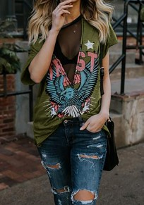 Green Eagle Floral Grenadine Round Neck Short Sleeve Streetwear T-Shirt