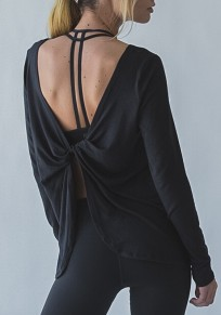 Black Irregular Backless Round Neck Long Sleeve Fashion T-Shirt