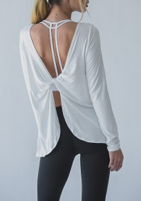 White Irregular Backless Round Neck Long Sleeve Fashion T-Shirt