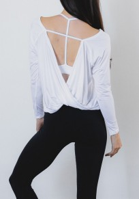 White Irregular Backless Round Neck Long Sleeve Casual T-Shirt