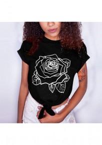 T-shirt cordon de fleurs col rond sans manches courtes occasionnel noir