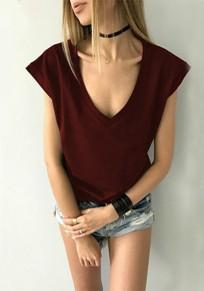 Burgundy Short Sleeve Deep V-neck Casual T-Shirt