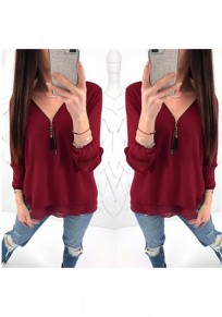 Wine Red Zipper Cut Out V-neck Long Sleeve Casual T-Shirt