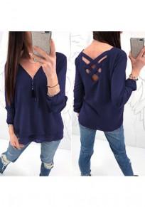 Dark Blue Zipper Cut Out V-neck Long Sleeve Casual T-Shirt