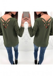 Army Green Zipper Cut Out V-neck Long Sleeve Casual T-Shirt